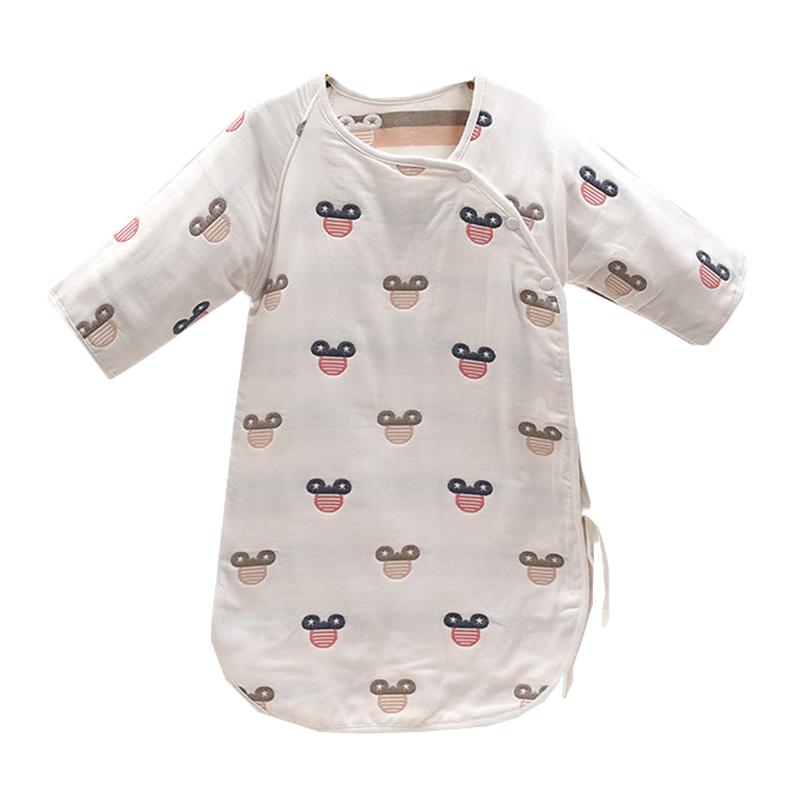 婴儿睡袋纯棉六层纱布新生婴儿睡袋睡袍长袖系带睡袋防踢被80股