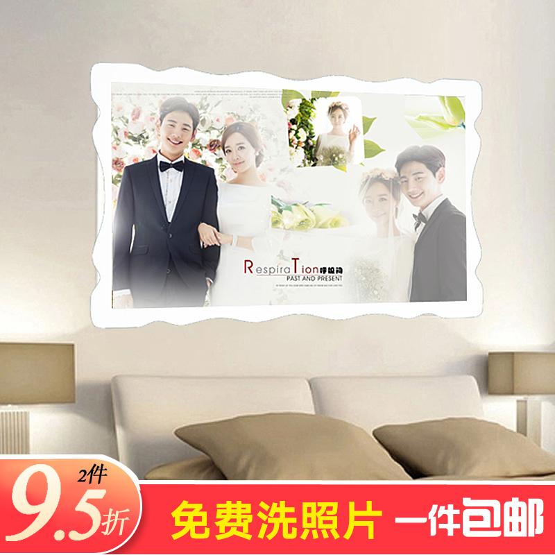 婚紗照放大相框擺臺定製創意組合掛牆沖洗照片加水晶製作結婚相片