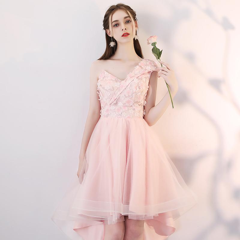 粉色伴娘服2019新款春季姐妹团中长款韩版显瘦修身伴娘礼服连衣裙