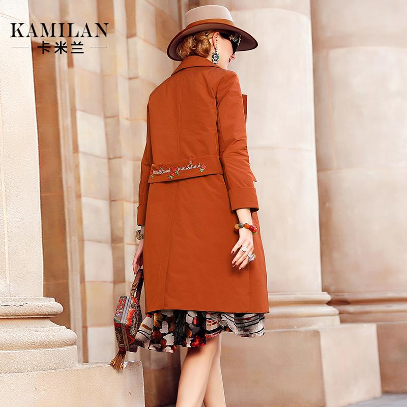 卡米兰冬季新款西装领绣花羽绒服女宽松中长款羽绒外套