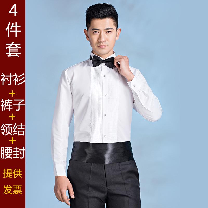 礼服衬衫男士长袖白衬衣新郎结婚伴郎兄弟团合唱演出服法式燕子领