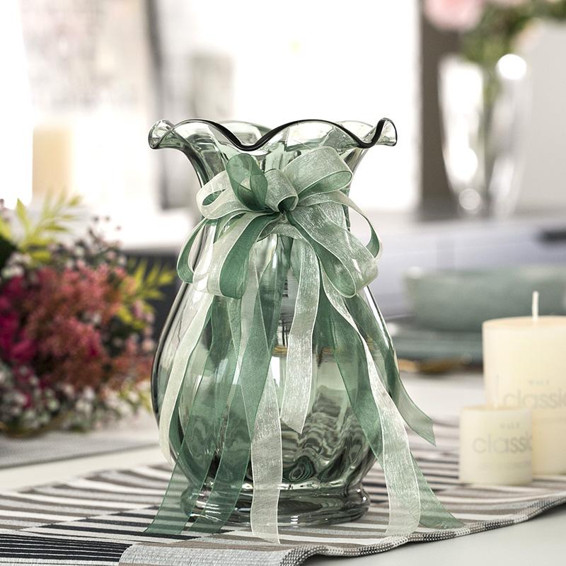 法式束口创意玻璃花瓶透明彩色北欧客厅百合插花瓶电视柜装饰摆件