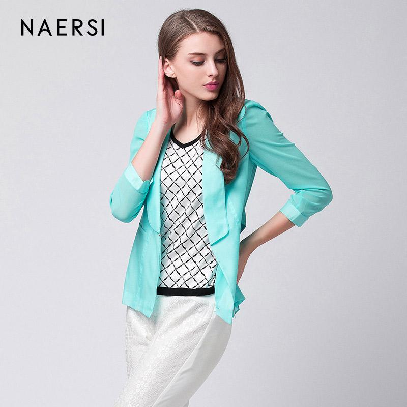 娜尔思新款时尚翻领短外套简约西装外套女通勤薄开衫