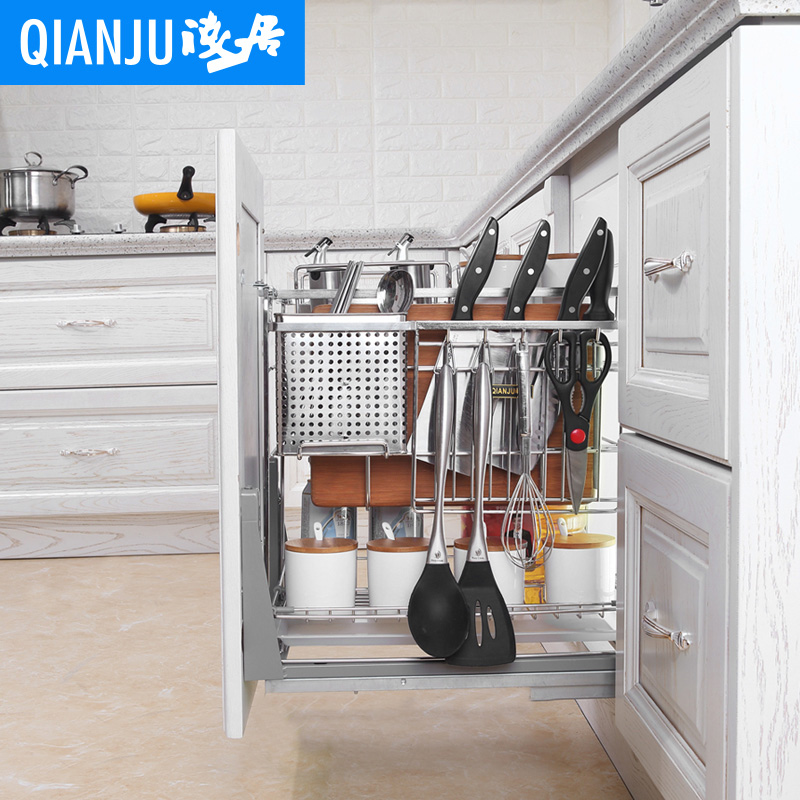 浅居 调味拉篮厨房橱柜304不锈钢调味篮拉篮抽屉式缓冲内置调料篮