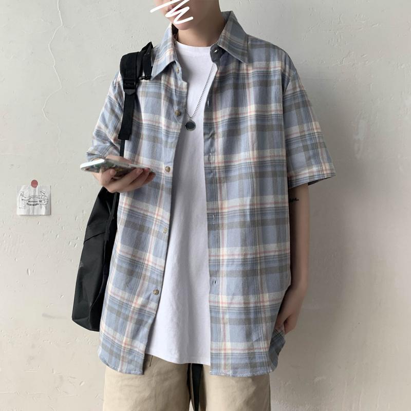 以家人之名凌霄宋威龙贺子秋张新成同款格子衬衫青少年短袖衬衣服