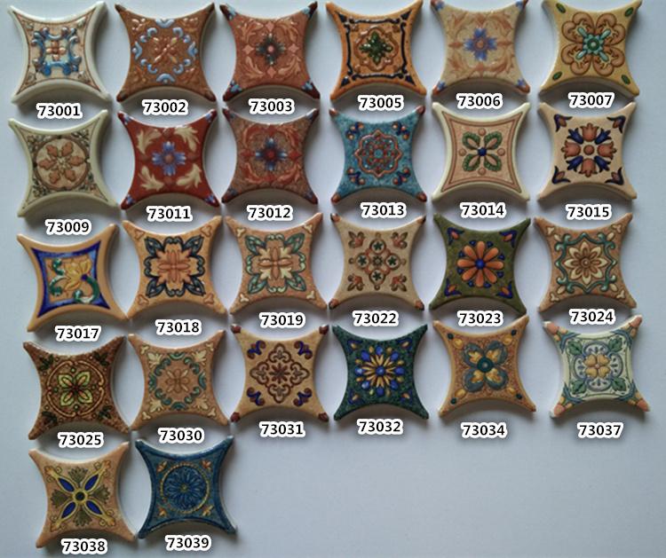 7.3*7.3cm圆角角花配500圆角仿古砖,瓷砖角花地中海风格弧形角花