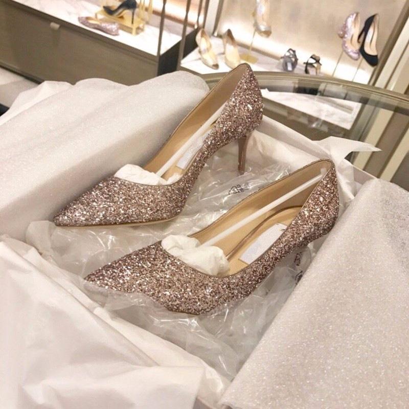 恋爱先生江疏影明星同款婚鞋女中跟新娘鞋高跟鞋渐变亮片细跟单鞋