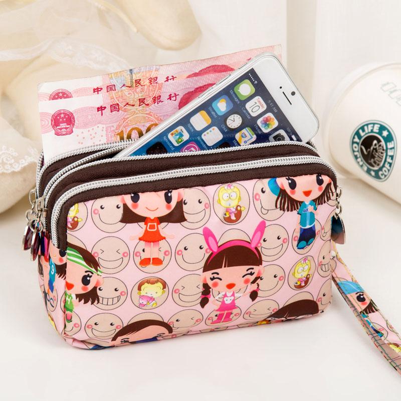 19新款卡通女士手拿手提包零钱包三层拉链女短款手机包钱包防水包