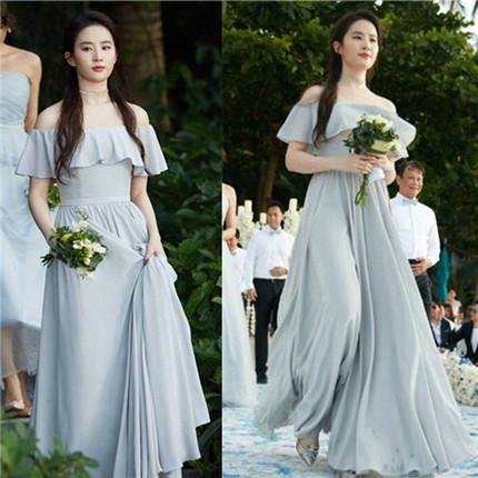 2019刘亦菲同款姐妹团伴娘服明星结婚显瘦一字肩宴会演出礼服裙女