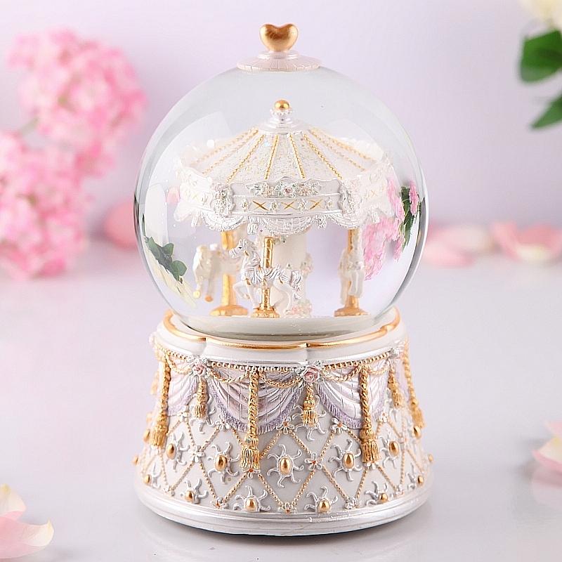 欧式旋转木马雪花水晶球音乐盒八音盒创意生日礼物女生孩儿童摆件