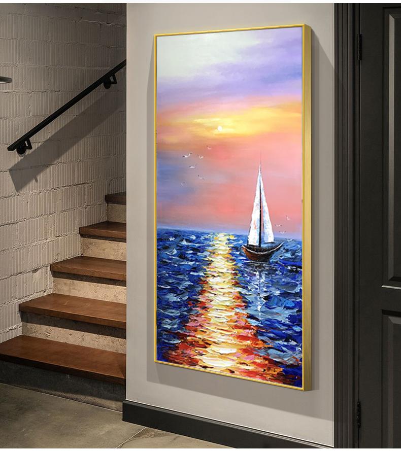 手繪油畫客廳裝飾畫現代簡約抽象畫玄關走廊過道輕奢豎版一帆風順