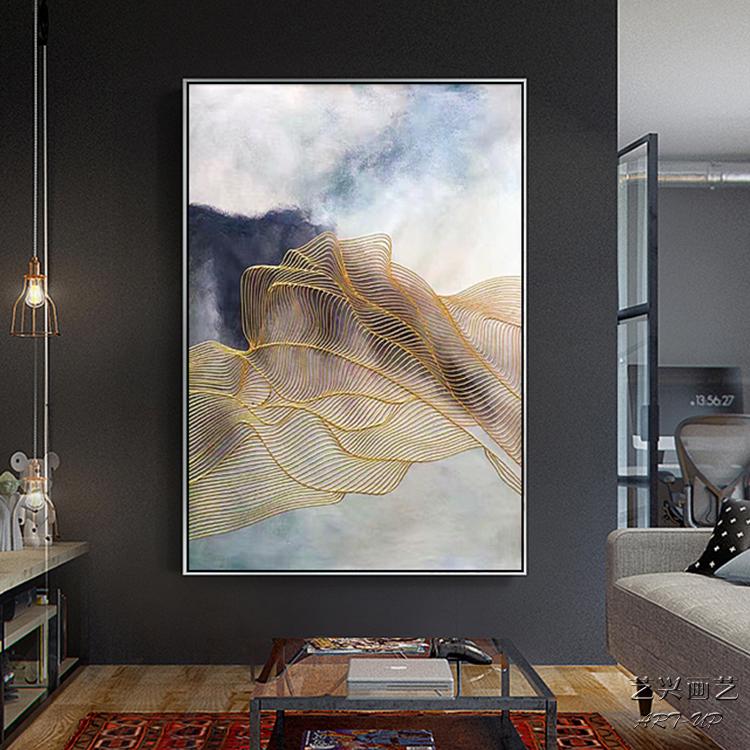 手工油画大幅北欧现代简约抽象装饰画玄关过道走廊挂壁画墙画定制