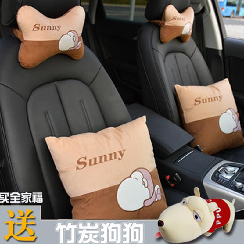 汽车头枕护颈枕靠枕一对车内座椅颈枕车载腰靠枕头卡通可爱用品