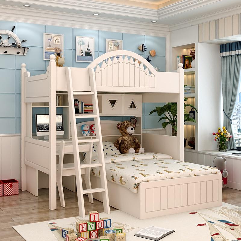 韩式白色田园儿童实木上下床书桌衣柜双层床女孩高低床男孩子母床