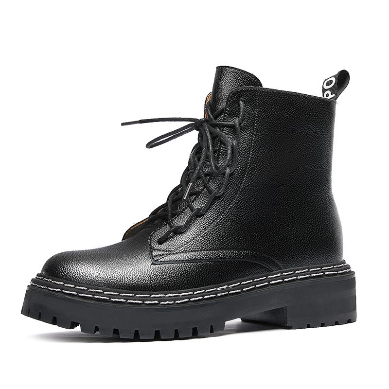 头层牛皮短靴 新款女显脚小 2020 韩都衣舍厚底马丁靴女英伦风靴子