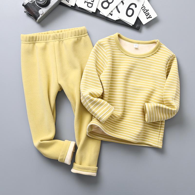 儿童保暖内衣童装加绒加厚套男童装秋衣秋裤女童冬装打底两件套潮