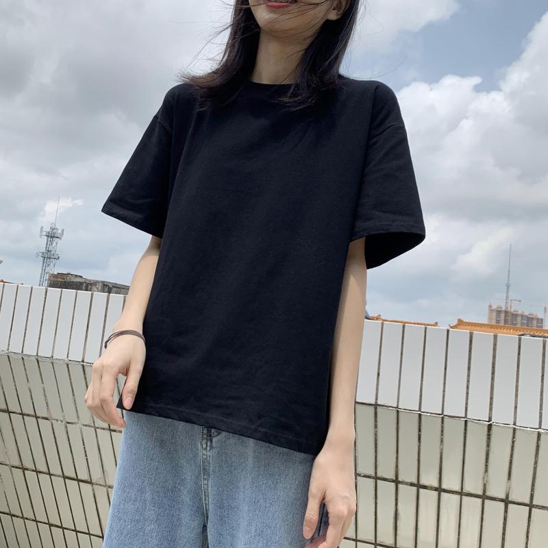 夏季纯黑色t恤女纯棉短袖半袖宽松韩版百搭上衣纯色大码学生ins潮