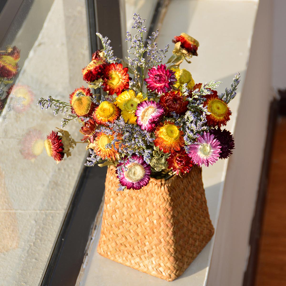 包邮大把天然干花真花草编花篮时尚陶瓷花瓶花艺套装客厅餐厅卧室