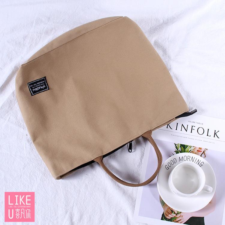 日本同款加厚帆布手提包单肩包百搭学院风电脑包公文包文件包袋