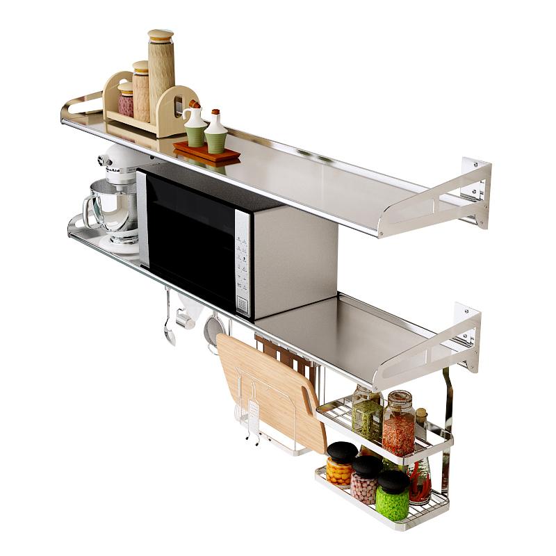 304不锈钢厨房置物架微波炉架壁挂式1层墙上支架烤箱调料收纳架子