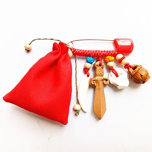 开光婴儿胎发袋胎毛挂坠辟邪护身符防惊吓桃篮桃木珠荷包随身挂件