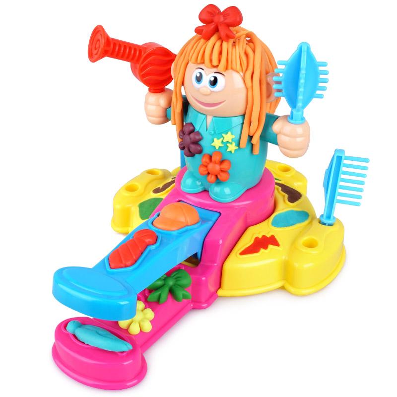 创意儿童理发师彩泥 挤头发橡皮泥DIY模具工具套装粘土过家家玩具