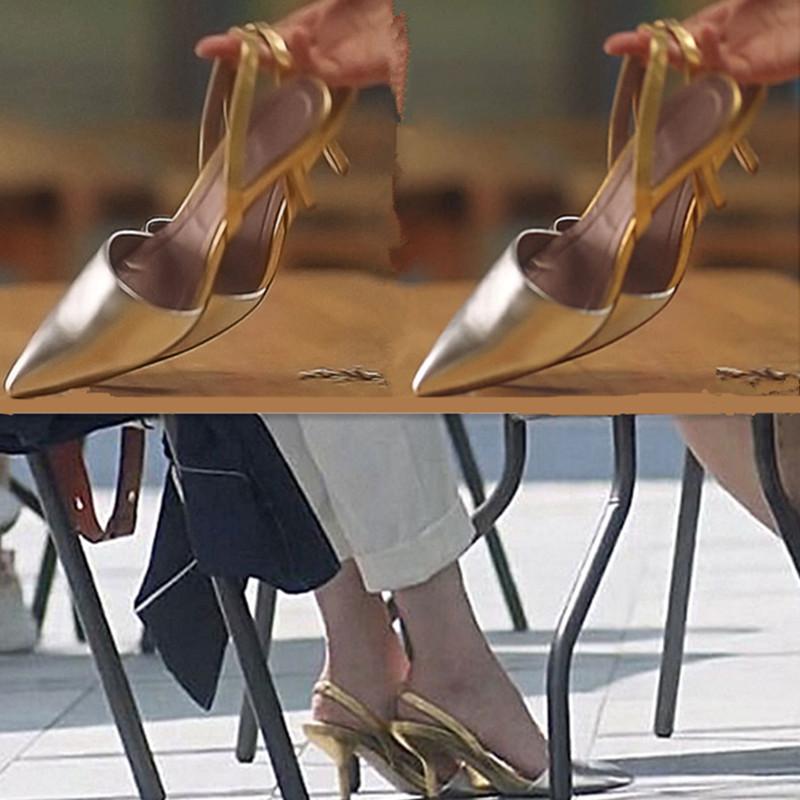 三十而已王漫妮江疏影同款鞋简约银色高跟鞋包头凉鞋后绊带尖头鞋