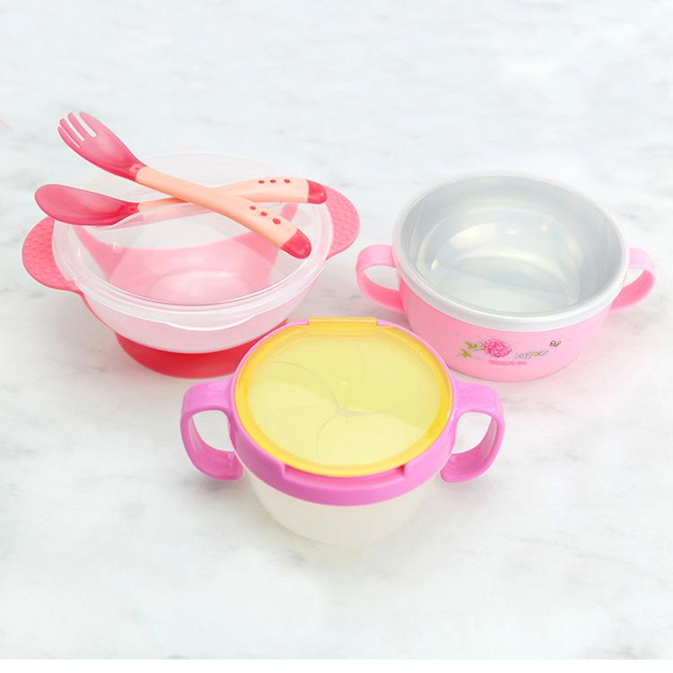 宝宝儿童餐具套装婴儿饭碗吸盘碗软勺子感温辅食碗餐盘筷子不锈钢