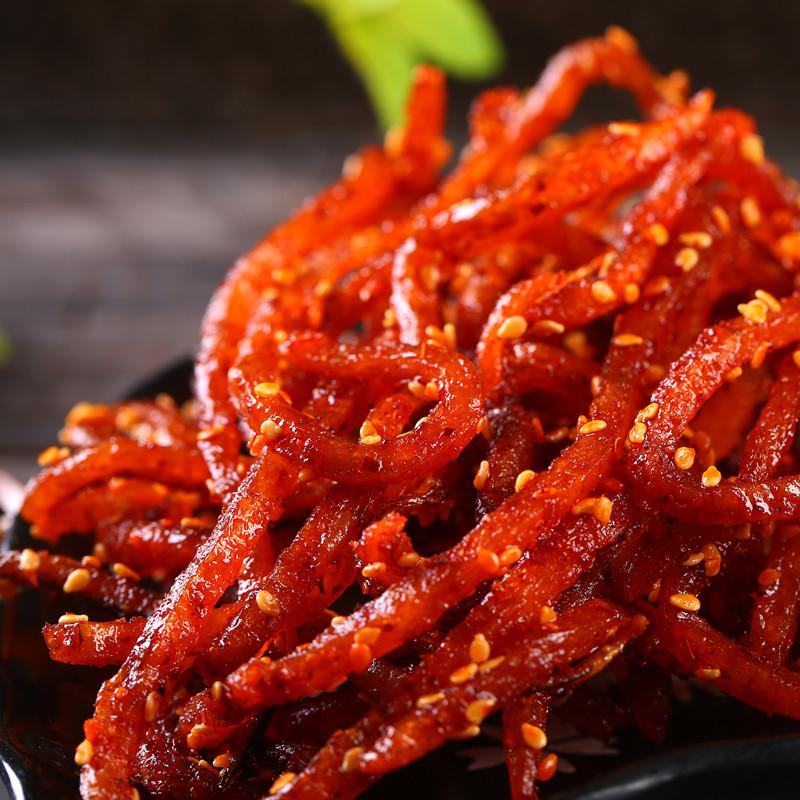 包郵芝麻蜜汁鰻魚干麻辣海鮮零食即食小魚干魚干片 500g 香辣鰻魚絲