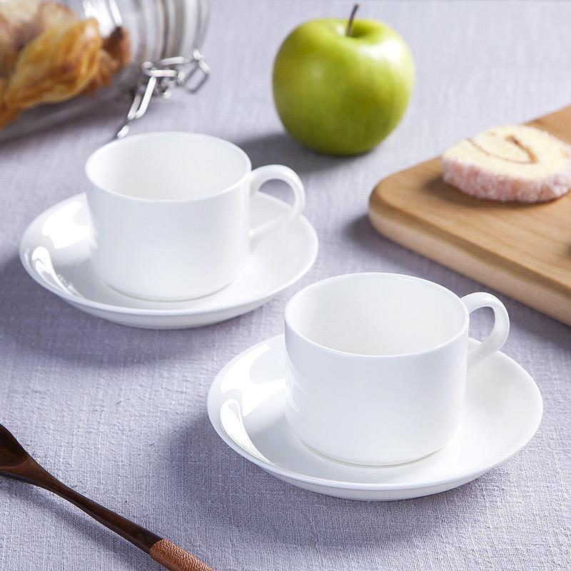 景德鎮陶瓷純白無暇骨瓷西式家裝簡約下午茶咖啡杯套裝送勺