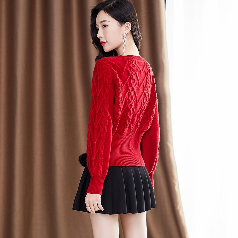 红色毛衣女2021新款韩版外穿洋气加厚v领灯笼袖毛球针织衫短款春主图