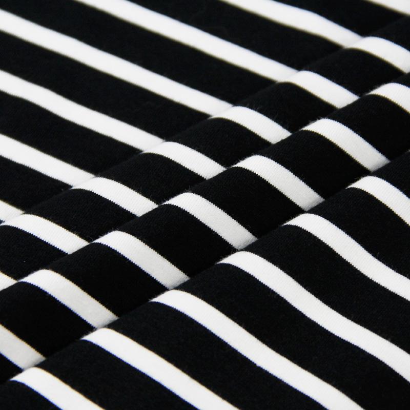 春秋季全棉莱卡黑白藏青弹力针织条纹布料T恤短袖连衣裙服装面料