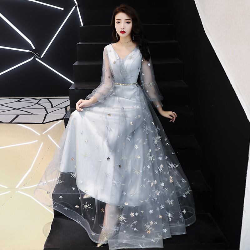 伴娘服长款2019新款梦幻仙气长袖姐妹团气质年会宴会小晚礼服裙女