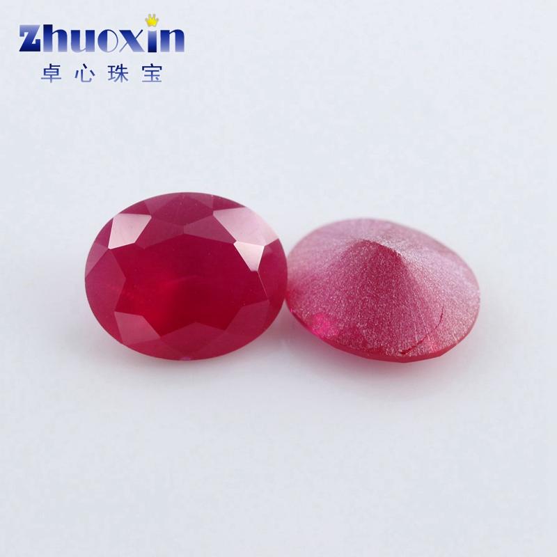 DIY 砂底合成椭圆形戒面饰品配石 红宝石裸石 Ruby 红刚玉沙底 5 蛋形