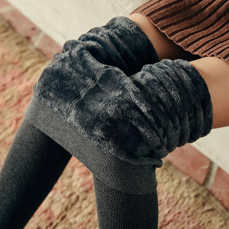 秋冬打底裤女加绒加厚外穿高腰竖条纹显瘦女士螺纹踩脚连裤袜287