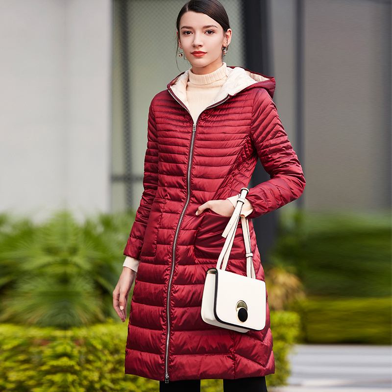 卡迪黛尔冬装新款撞色拼接轻薄羽绒服气质时尚中长款修身外套女