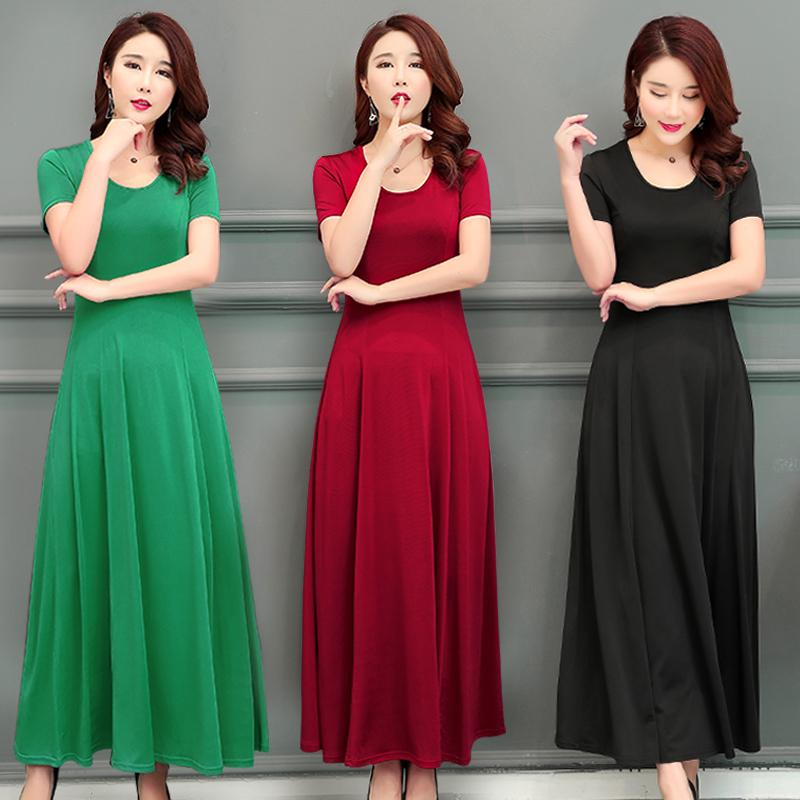 2020夏季新品短袖女連衣裙套頭大擺裙韓版修身顯瘦純色打底長裙