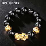 Gold bracelet brave men and women of 3D hard gold 999 gold bracelet Picchu transfer beads Passepartout couple bracelets