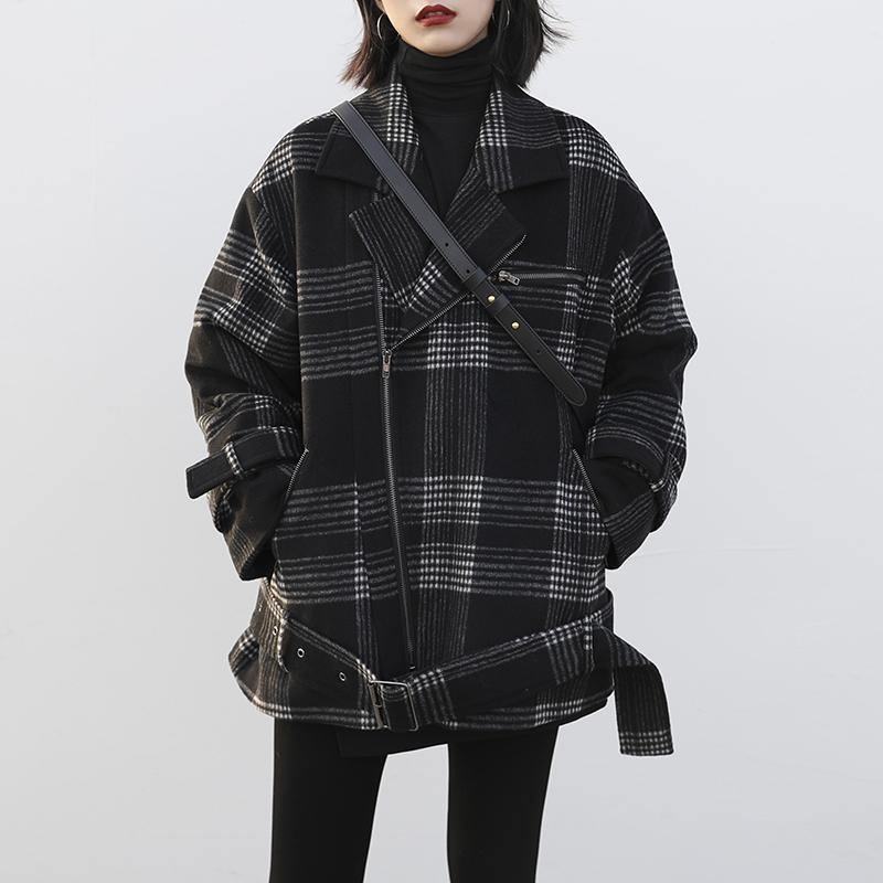 冬新款复古工装格子夹棉毛呢外套冬宽松机车夹克上衣 CHICVEN2019