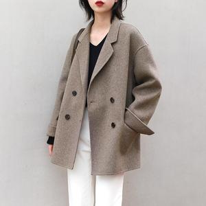CHICVEN秋冬新款「都市旁观者」气质宽松双面呢大衣 羊毛呢外套