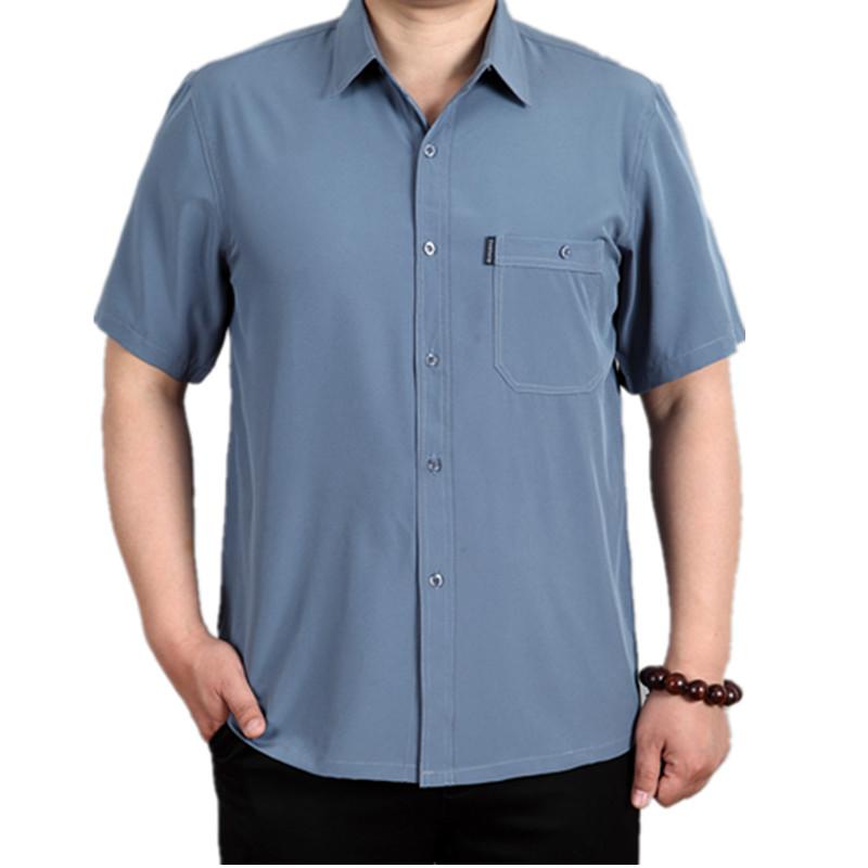 春夏季中老年男士加大码短袖免烫衬衣薄款桑蚕丝真丝爸爸装衬衫