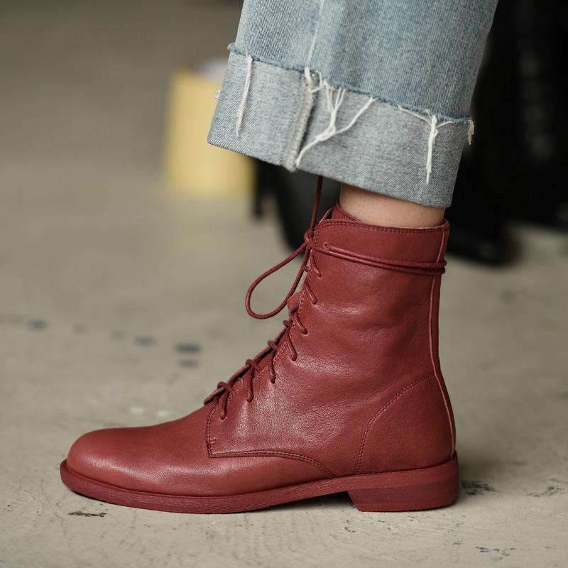 红色靴子女裸靴 2019 何其丑系带马丁靴女短靴女平底靴冬季加绒女鞋