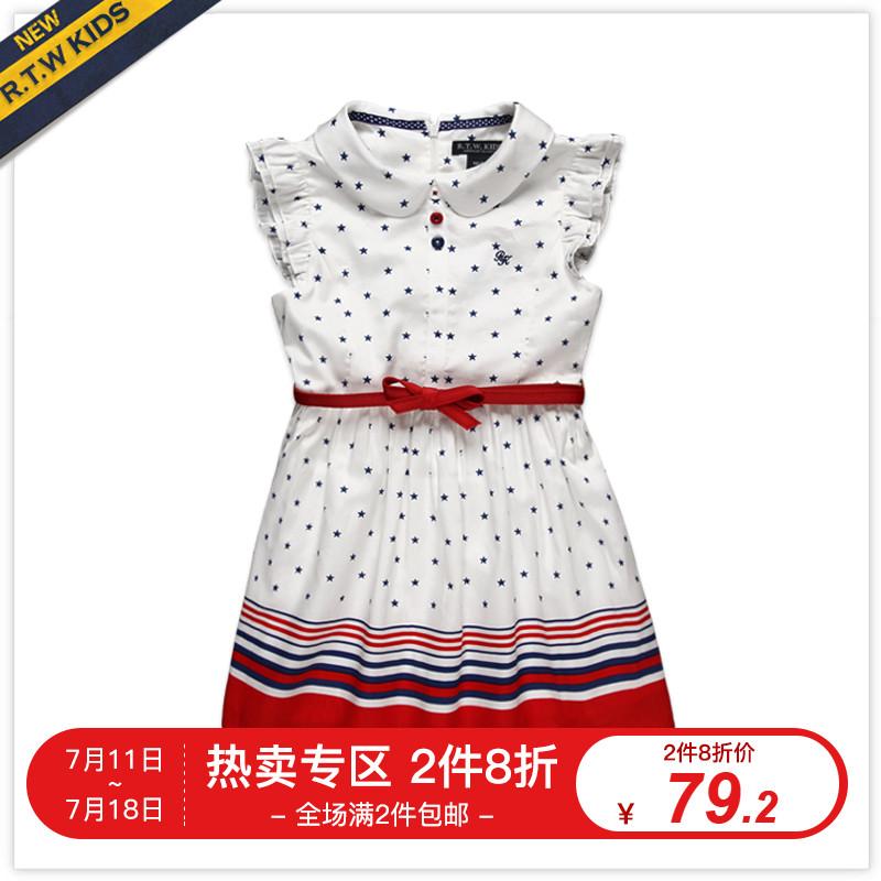 RTW童裝2019夏裝新款女童連衣裙繁星波點印花腰帶裙子RKGL52077E