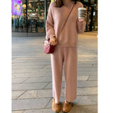 Maternity wear autumn and winter knitted suit pregnant women pants wear fashion jacket sweater wide leg pants foreign style net red