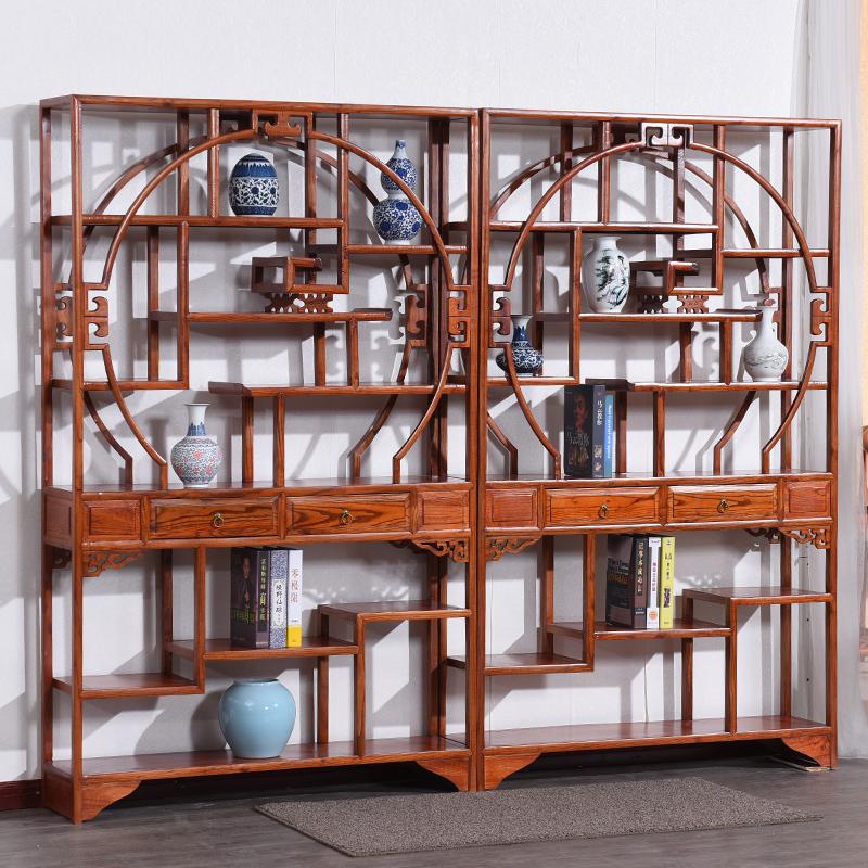 明清仿古实木家具古典南榆木多宝阁博古架成列架展示架古董架正品