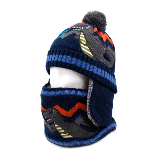 韩国儿童帽子围巾两件套蜘蛛侠男童宝宝冬季加绒保暖围脖一体套装