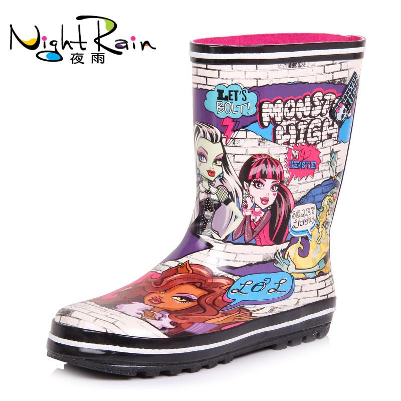 冬天时尚中筒雨鞋女式成人雨靴女士水鞋加绒可爱短筒防滑韩国保暖