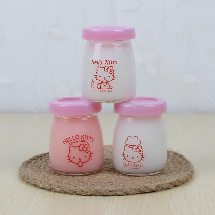 包邮hello kitty布丁瓶100ml无铅玻璃布丁瓶 加强盖布丁杯酸奶瓶