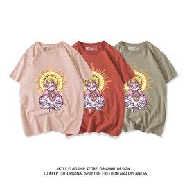 原创可爱卡通潮牌皮粉色短袖t恤女韩版宽松原宿bf风佛系学生半袖
