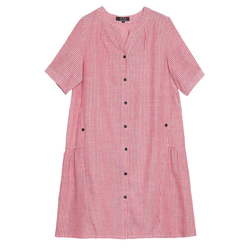 适合胖女人穿的裙子 特大码女装遮肚减龄胖mm夏装亚麻棉麻连衣裙